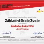 Zakladka roku 2016 Zvole
